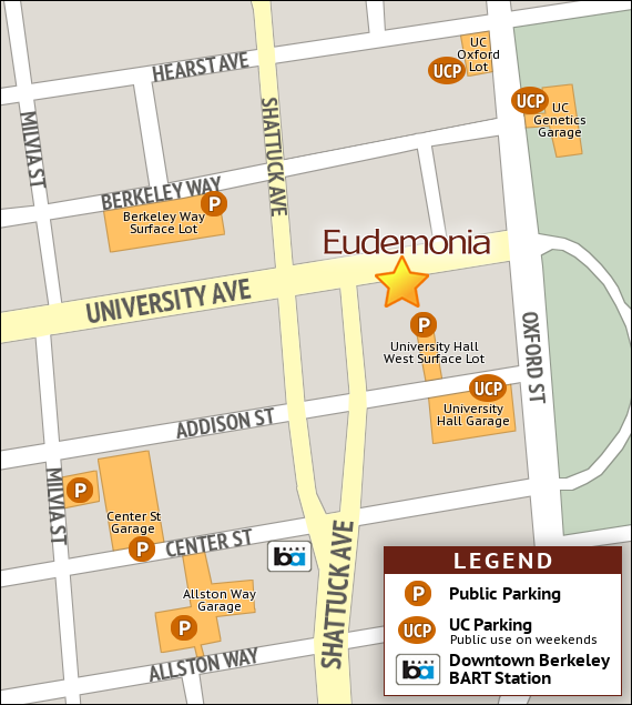 Map showing Eudemonia and nearby parking